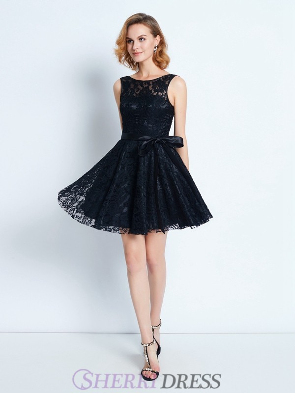 A-Line/Princess Scoop Lace Sleeveless Short/Mini Homecoming Dresses