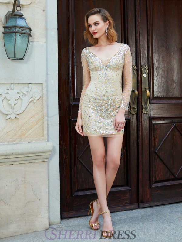 Sheath/Column Scoop Net Long Sleeves Short/Mini Homecoming Dresses