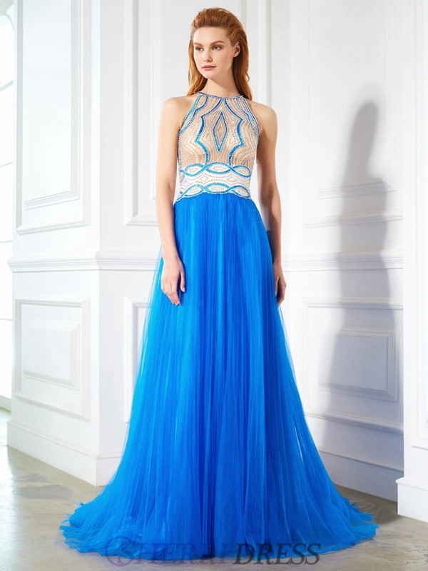 A-Line/Princess Jewel Net Sleeveless Floor-Length Dresses
