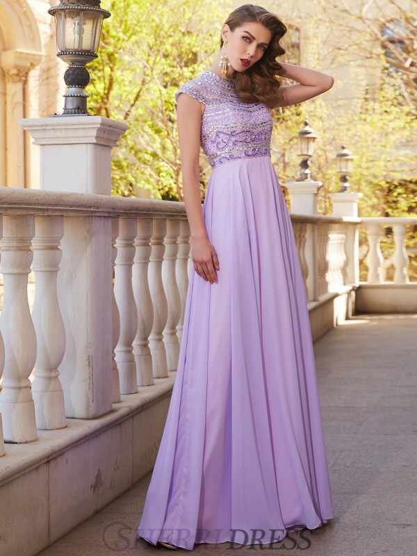A-Line/Princess Scoop Chiffon Short Sleeves Floor-Length Dresses