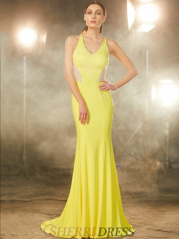 Trumpet/Mermaid V-neck Spandex Sleeveless Sweep/Brush Train Dresses