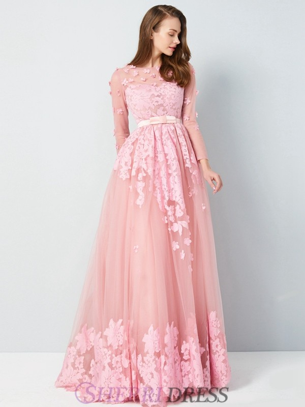 A-Line/Princess Scoop Tulle 3/4 Sleeves Floor-Length Dresses