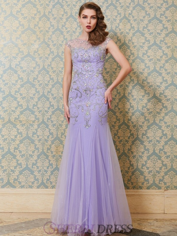 Trumpet/Mermaid Scoop Tulle Sleeveless Floor-Length Dresses