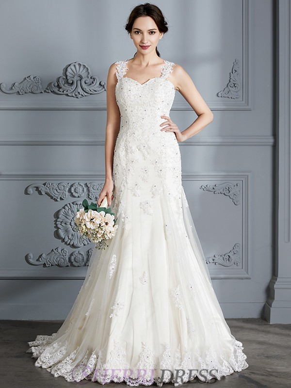 Trumpet/Mermaid Sweetheart Lace Sleeveless Court Train Wedding Dresses