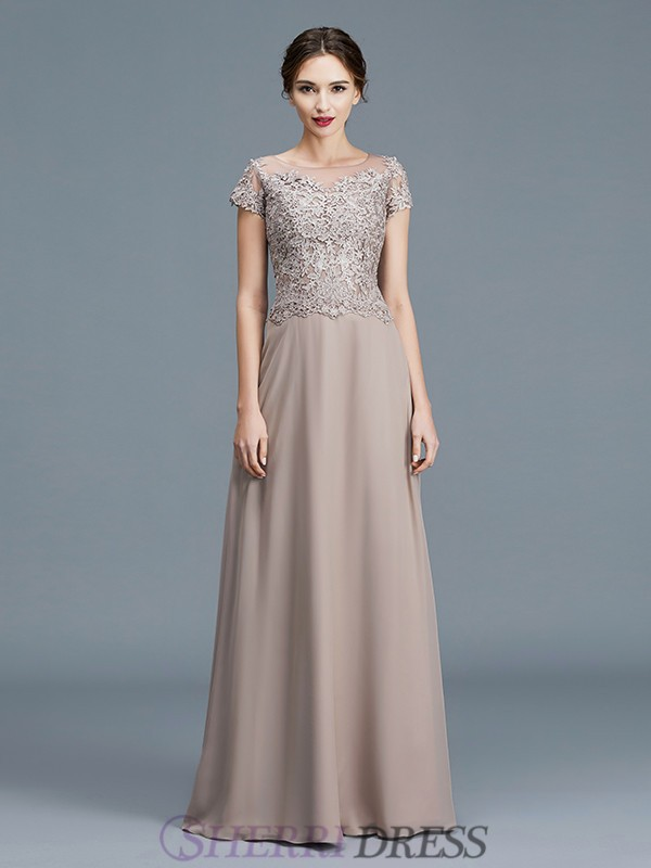 A-Line/Princess Scoop Chiffon Short Sleeves Floor-Length Mother of the Bride Dresses