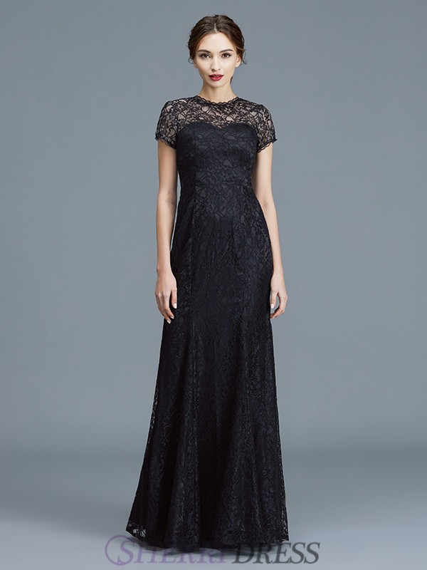 Trumpet/Mermaid Scoop Lace Short Sleeves Floor-Length Mother of the Bride Dresses