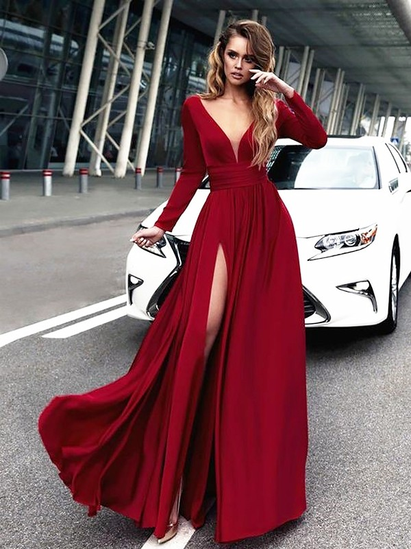 A-Line/Princess V-neck Satin Long Sleeves Floor-Length Dresses