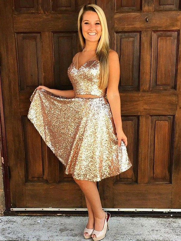 A-Line/Princess V-Neck Sequin Sleeveless Knee-length Two Piece Dresses