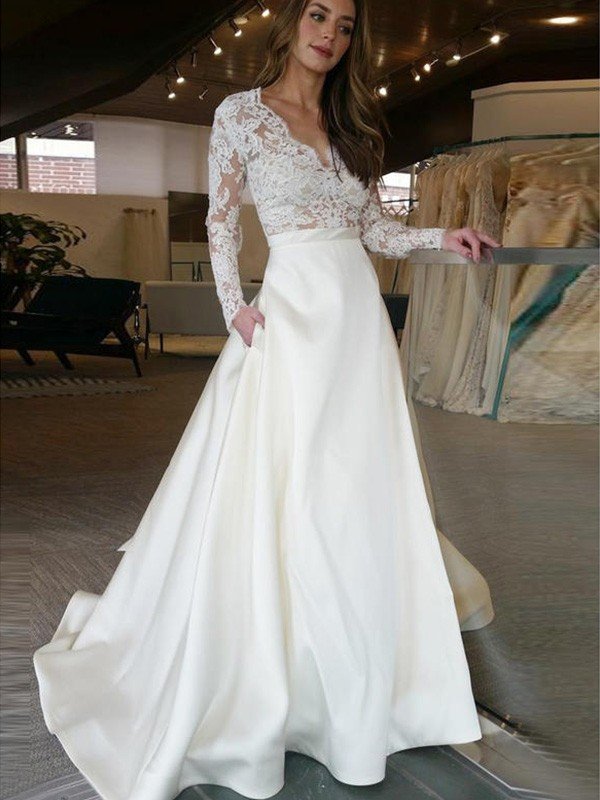 A-Line/Princess V-neck Satin Long Sleeves Sweep/Brush Train Wedding Dresses