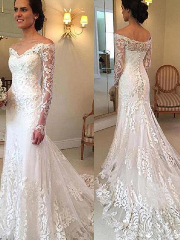 Trumpet/Mermaid Off-the-Shoulder Lace Long Sleeves Court Train Wedding Dresses