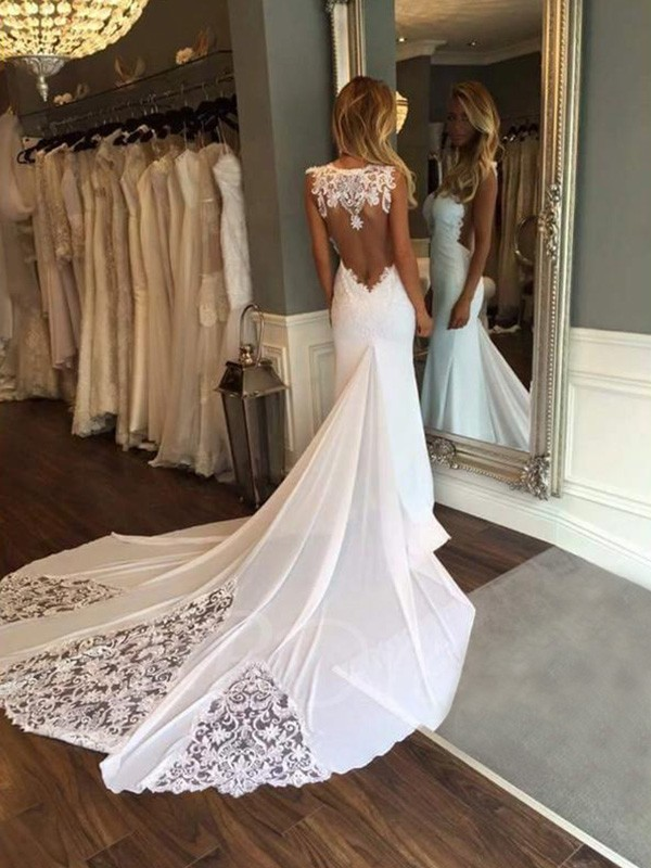 Trumpet/Mermaid Sweetheart Lace Sleeveless Cathedral Train Wedding Dresses