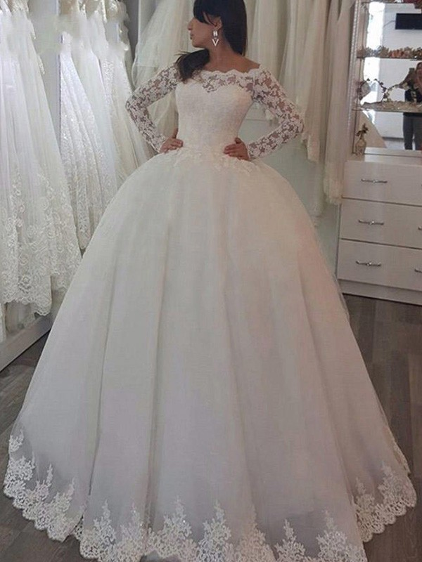 Ball Gown Off-the-Shoulder Lace Long Sleeves Sweep/Brush Train Wedding Dresses