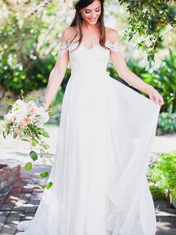 A-Line/Princess Off-the-Shoulder Chiffon Sleeveless Sweep/Brush Train Wedding Dresses