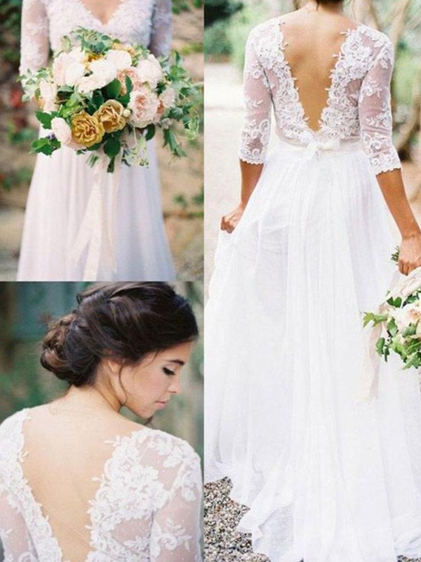 A-Line/Princess V-neck Chiffon 1/2 Sleeves Floor-Length Wedding Dresses