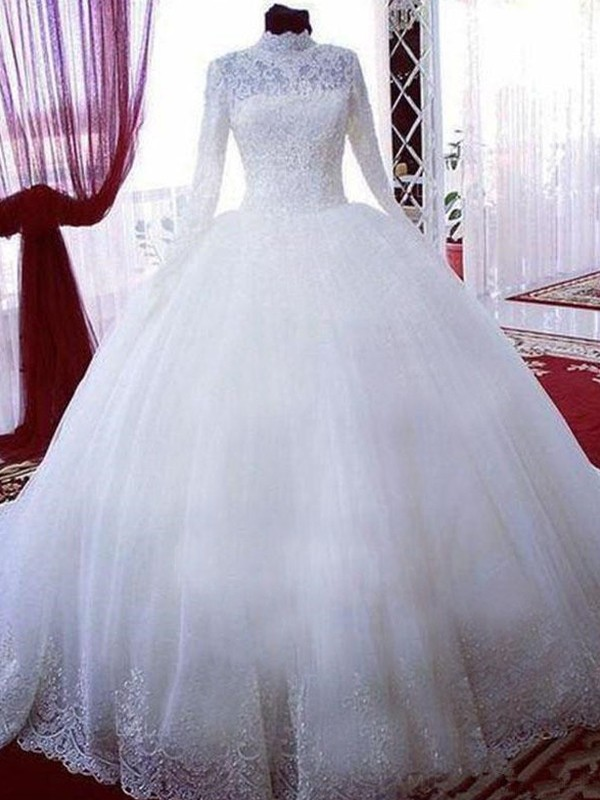 Ball Gown High Neck Tulle Long Sleeves Chapel Train Wedding Dresses