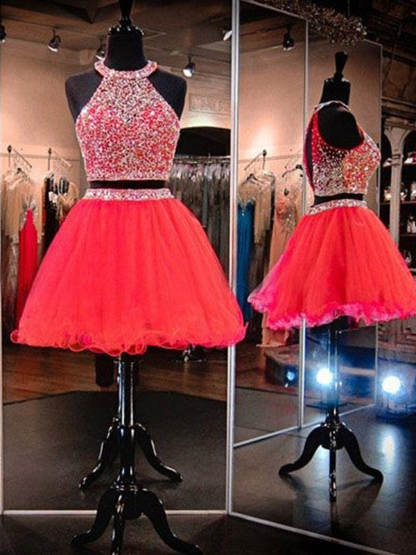 A-Line/Princess Halter Tulle Sleeveless Short/Mini Two Piece Dresses