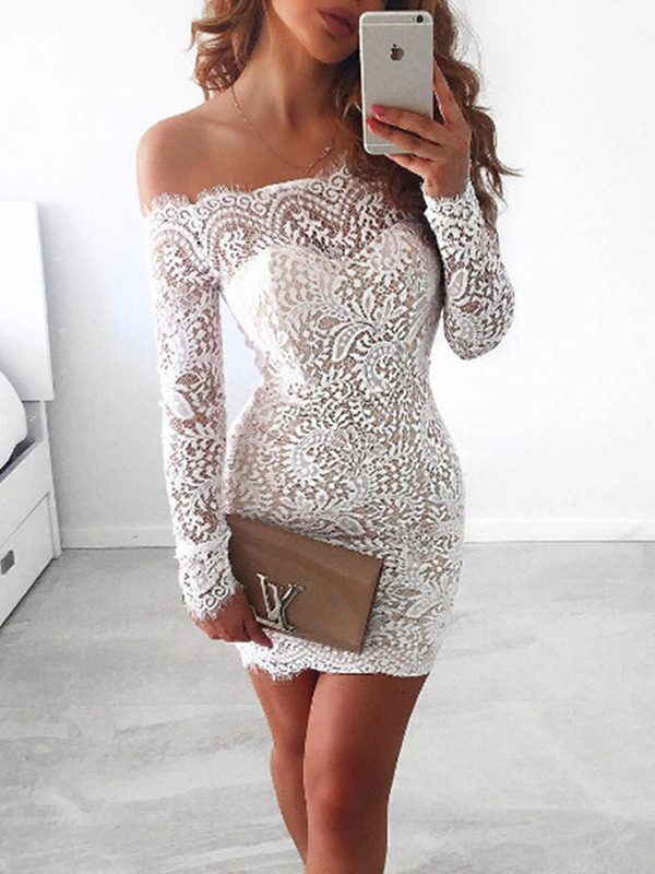 Sheath/Column Off-the-Shoulder Lace Long Sleeves Short/Mini Dresses