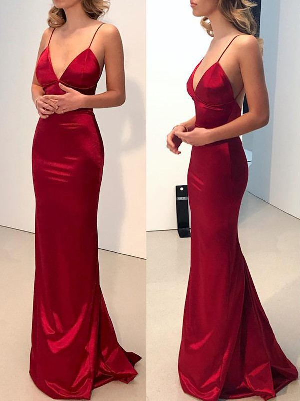 Sheath/Column Spaghetti Straps Silk like Satin Sleeveless Sweep/Brush Train Dresses