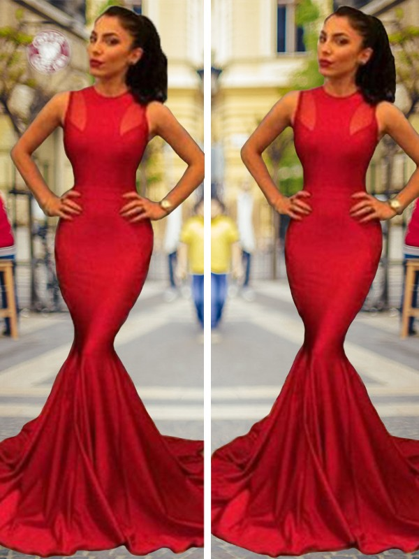 Trumpet/Mermaid Jewel Elastic Woven Satin Sleeveless Court Train Dresses