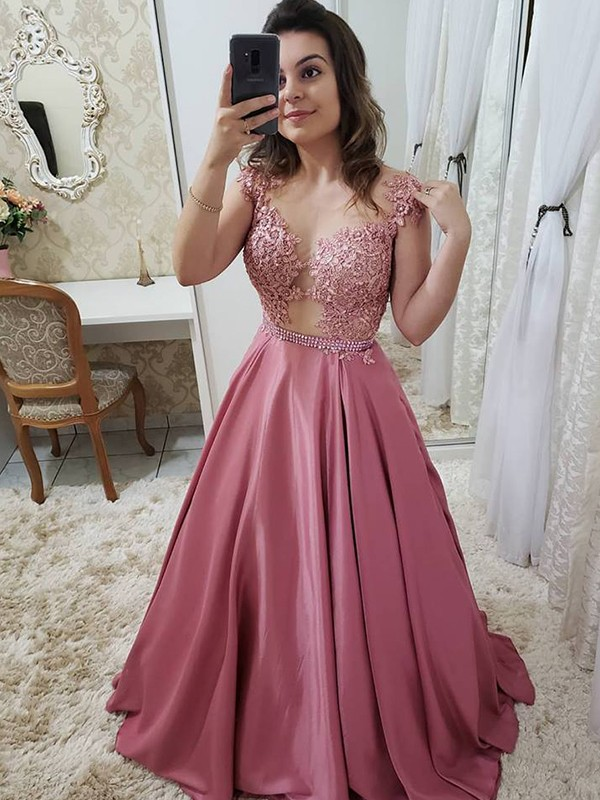 A-Line/Princess Scoop Satin Sleeveless Floor-Length Dresses