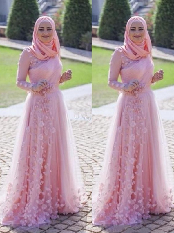 A-Line/Princess Scoop Tulle Long Sleeves Sweep/Brush Train Dresses