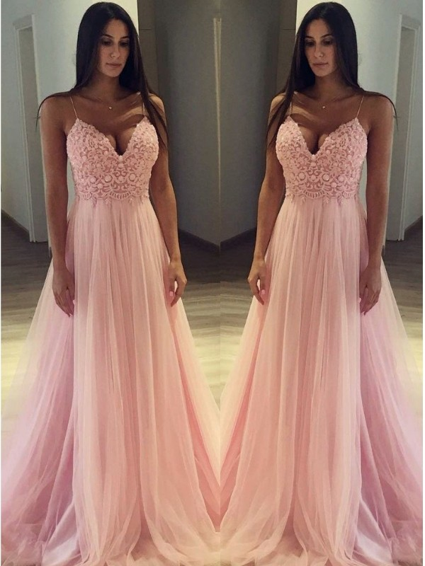 A-Line/Princess Spaghetti Straps Tulle Sleeveless Sweep/Brush Train Dresses