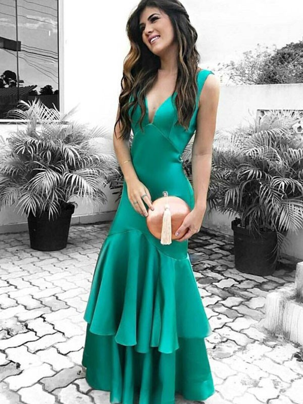 Sheath/Column V-neck Satin Sleeveless Floor-Length Dresses