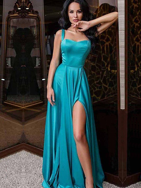 A-Line/Princess Straps Elastic Woven Satin Sleeveless Sweep/Brush Train Dresses