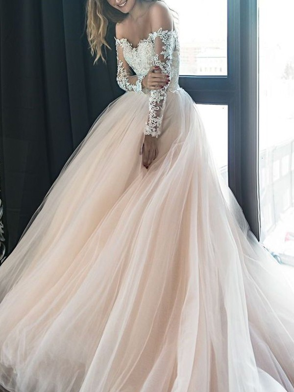 A-Line/Princess Off-the-Shoulder Tulle Long Sleeves Court Train Wedding Dresses