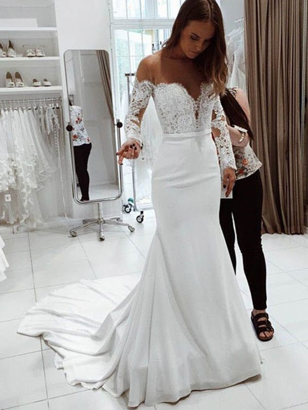 Trumpet/Mermaid Off-the-Shoulder Chiffon Long Sleeves Court Train Wedding Dresses