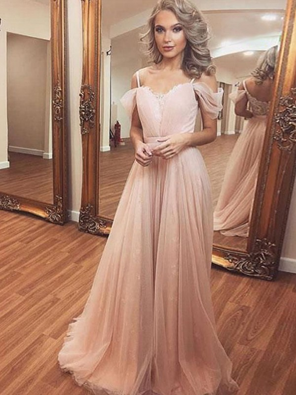 A-Line/Princess Off-the-Shoulder Tulle Sleeveless Sweep/Brush Train Dresses