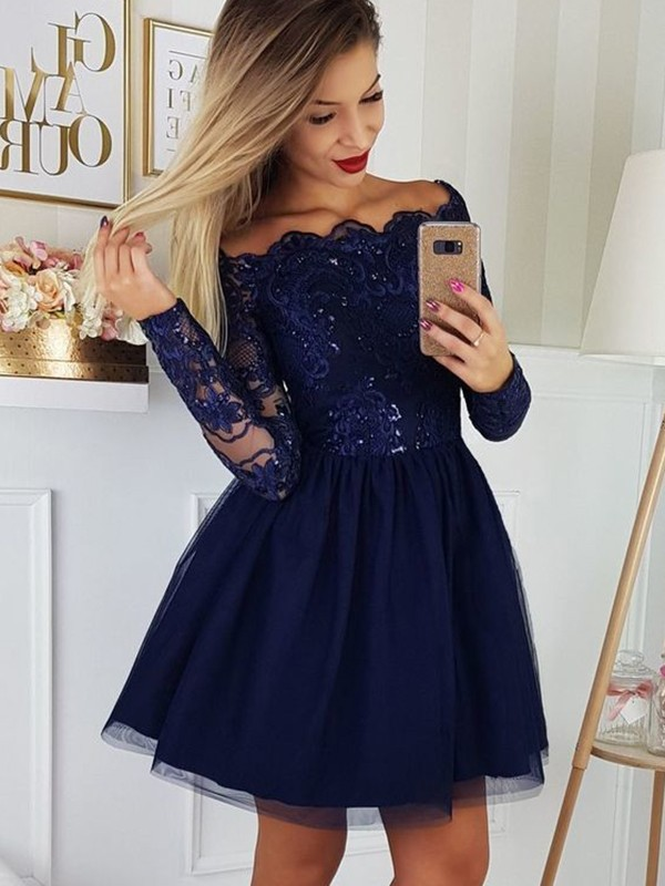 A-Line/Princess Off-the-Shoulder Tulle Long Sleeves Short/Mini Dresses