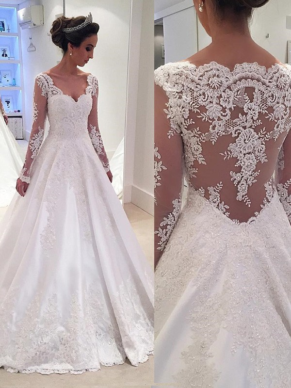 Ball Gown V-neck Satin Long Sleeves Court Train Wedding Dresses