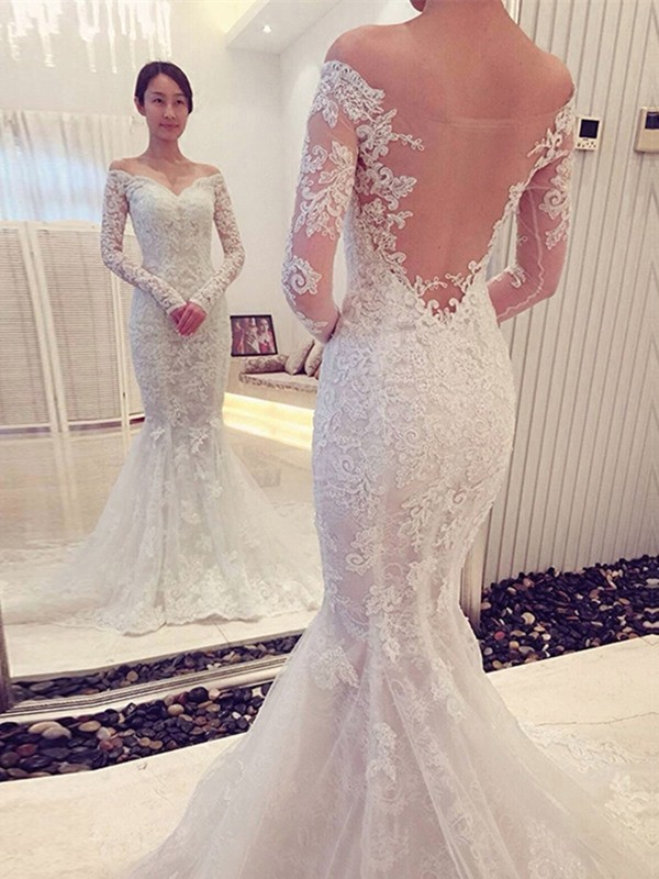 Trumpet/Mermaid Off-the-Shoulder Lace Long Sleeves Chapel Train Wedding Dresses