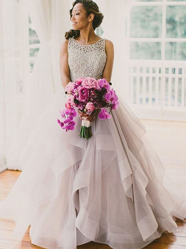 Ball Gown Scoop Organza Sleeveless Floor-Length Wedding Dresses