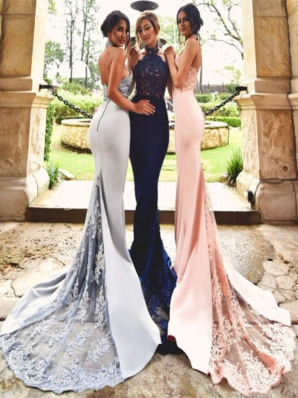 Trumpet/Mermaid Halter Satin Sleeveless Sweep/Brush Train Bridesmaid Dresses