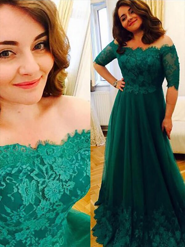 A-Line/Princess Off-the-Shoulder Tulle Short Sleeves Floor-Length Plus Size Dresses
