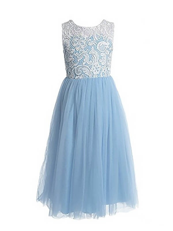A-Line/Princess Jewel Tulle Sleeveless Ankle-Length Flower Girl Dresses