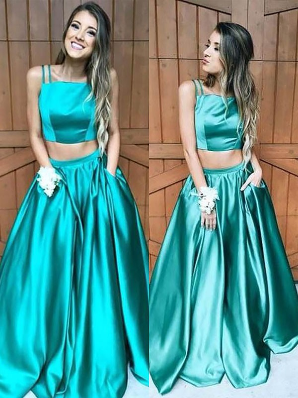 A-Line/Princess Square Satin Sleeveless Floor-Length Dresses