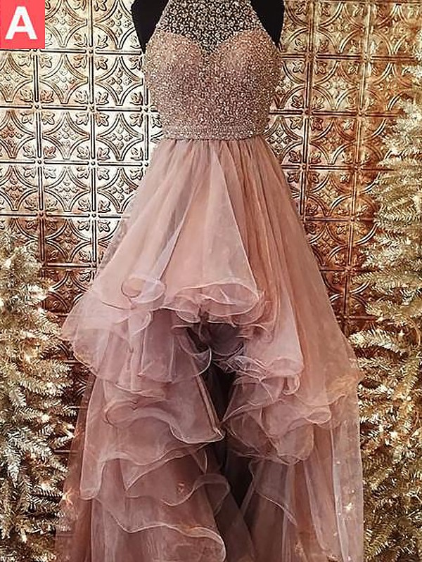 Ball Gown Halter Tulle Sleeveless Sweep/Brush Train Dresses