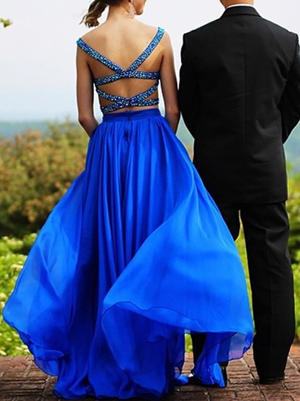 A-Line/Princess Sweetheart Chiffon Sleeveless Floor-Length Two Piece Dresses