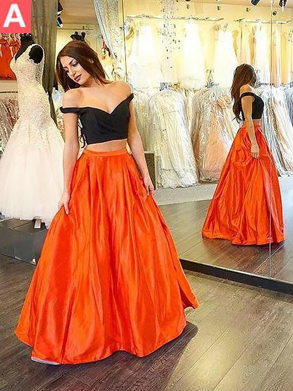 A-Line/Princess Off-the-Shoulder Taffeta Sleeveless Floor-Length Two Piece Dresses