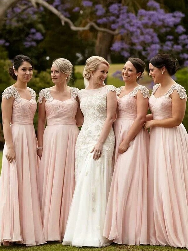 A-Line/Princess Beading Chiffon Short Sleeves Floor-Length Bridesmaid Dresses