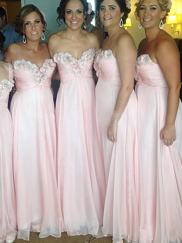 A-Line/Princess Sweetheart Chiffon Sleeveless Floor-Length Bridesmaid Dresses