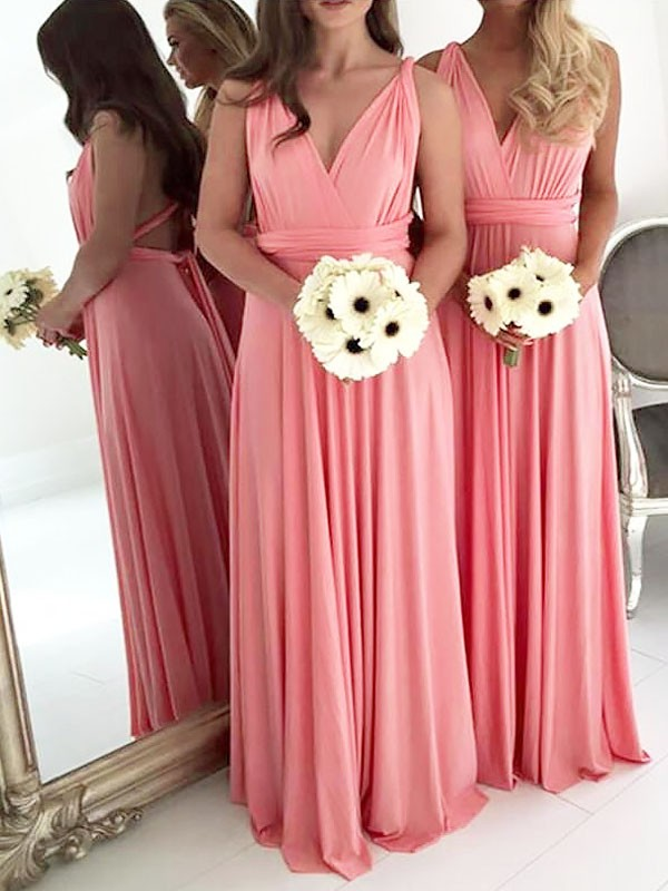 A-Line/Princess V-neck Spandex Sleeveless Floor-Length Bridesmaid Dresses
