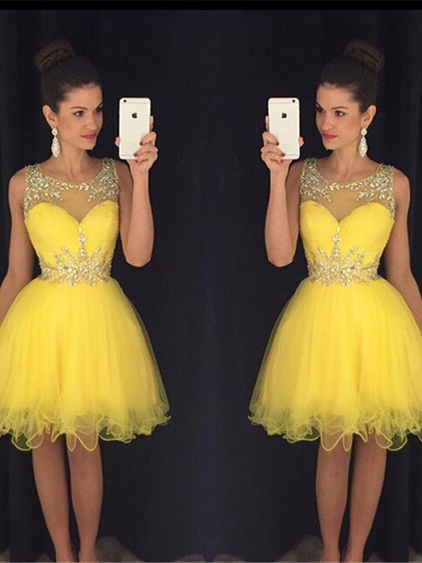A-line/Princess Scoop Tulle Sleeveless Short/Mini Homecoming Dresses