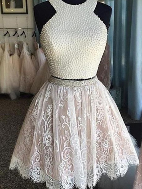A-line/Princess Halter Lace Sleeveless Short/Mini Two Piece Homecoming Dresses