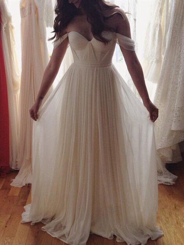 A-Line/Princess Off-the-Shoulder Chiffon Sleeveless Floor-Length Prom Dresses