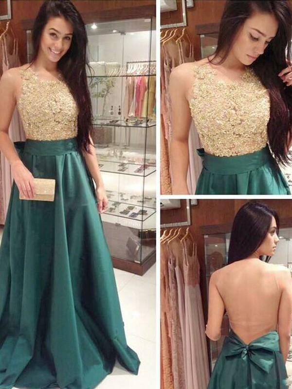 A-Line/Princess Scoop Satin Sleeveless Floor-Length Prom Dresses