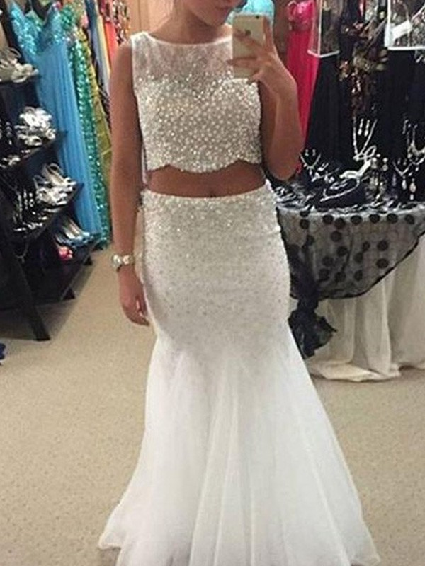 Trumpet/Mermaid Scoop Tulle Sleeveless Floor-Length Two Piece Prom Dresses